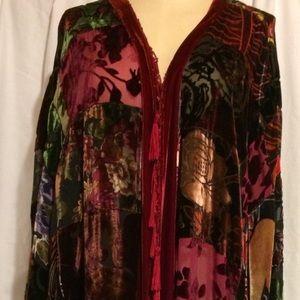Chico's Silk Velvet Burnout Patchwork Kimono ML